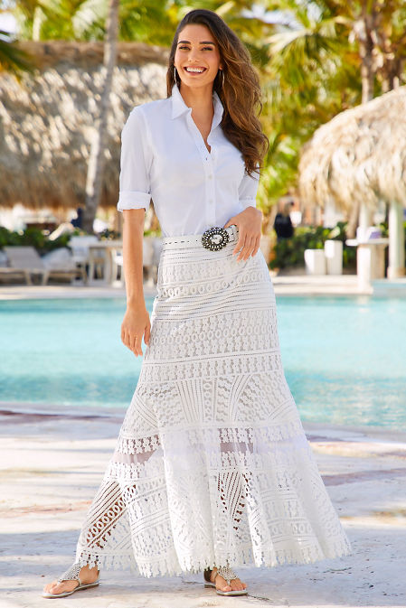 Long lace maxi skirt image