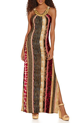 Mixed print stripe maxi dress