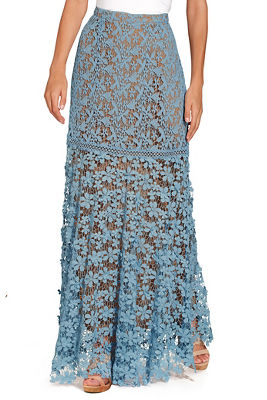 Display product reviews for 3D floral lace maxi skirt