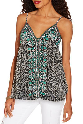 Animal embellished tank top