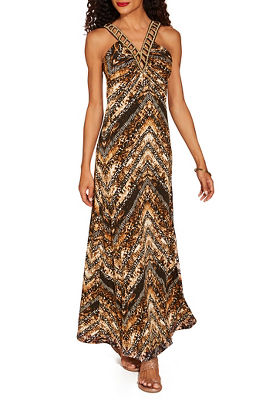 Beaded neck animal maxi dress