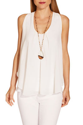 Chiffon overlay sleeveless top