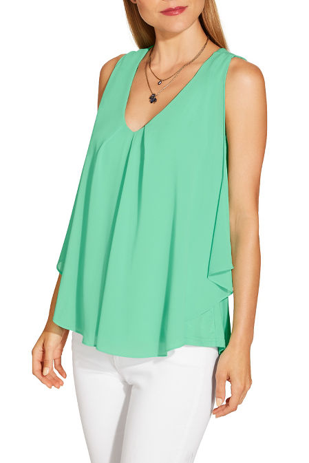 Chiffon overlay sleeveless top image