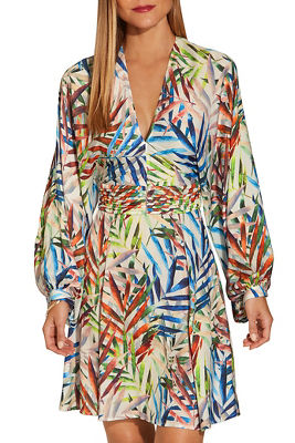Colorful leaf print dress