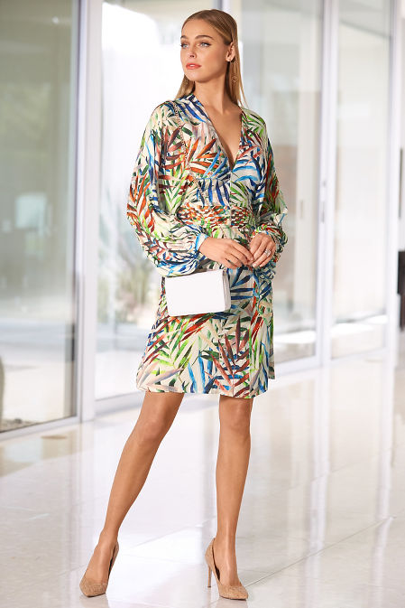Colorful leaf print dress image