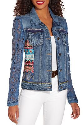 Crochet sleeve embellished denim jacket