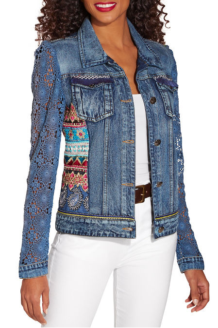 Crochet sleeve embellished denim jacket image