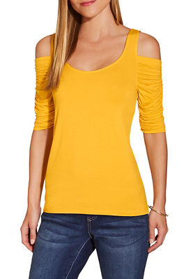Cold shoulder ruched sleeve scoop neck top