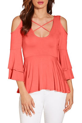 Cold shoulder x neck ruffle sleeve top
