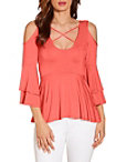 Cold Shoulder X Neck Ruffle Sleeve Top Photo