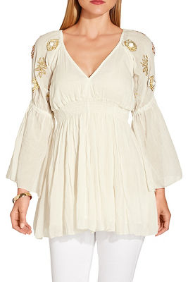 Embellished sleeve smocked tunic top