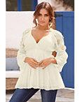 Embellished Sleeve Smocked Tunic Top Photo
