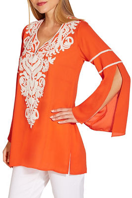 Embellished v neck long sleeve tunic top