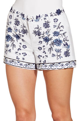 Embroidered and bead trim short