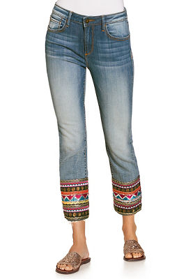 Embroidered and sequin hem crop jean