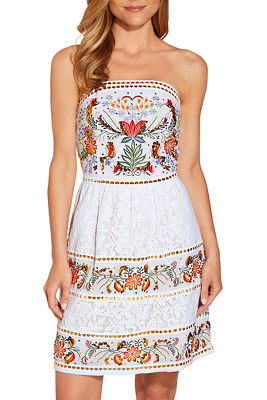 Embroidered lace strapless dress