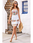 Embroidered Lace Strapless Dress Photo