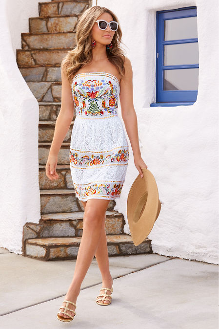 Embroidered lace strapless dress image