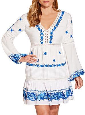 Embroidered long sleeve v neck dress