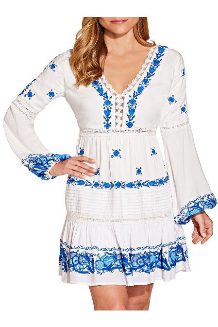 Embroidered long sleeve v neck dress image