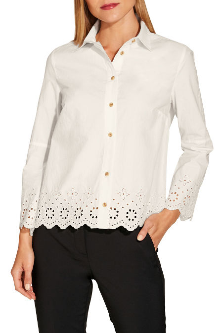 Eyelet trim poplin shirt image