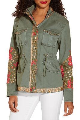 Floral Gold Embellished Utility Jacket by Boston Proper