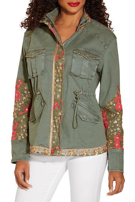 Floral gold embellished utility jacket image