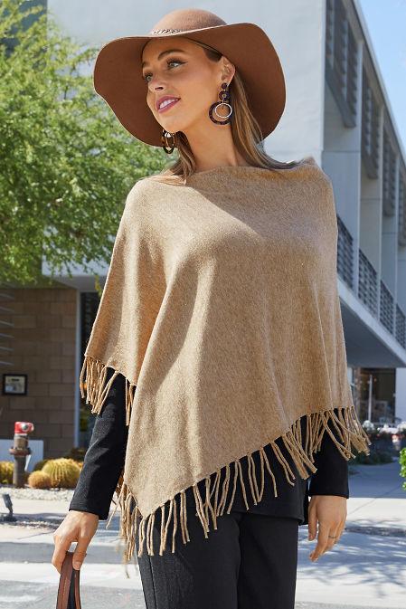 Fringe sweater poncho image