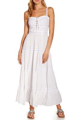 grommet lace up midi dress