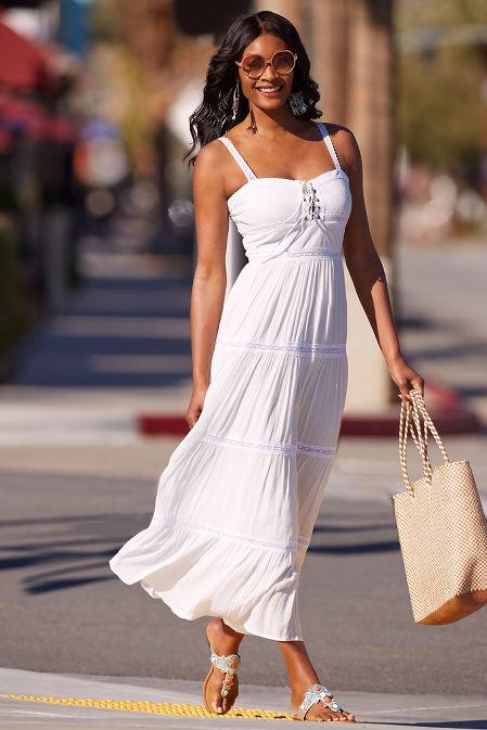 Grommet lace up midi dress image