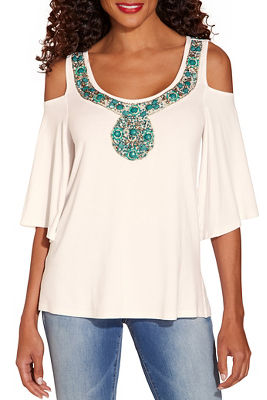Jeweled neck cold shoulder top