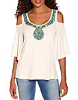 Jeweled Neck Cold Shoulder Top Photo