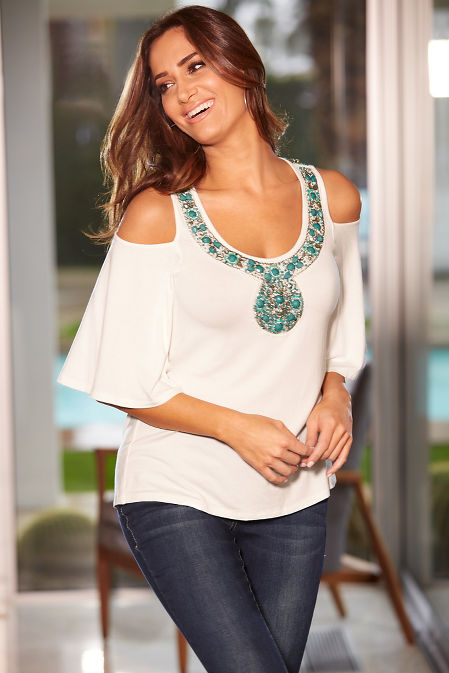 Jeweled neck cold shoulder top image