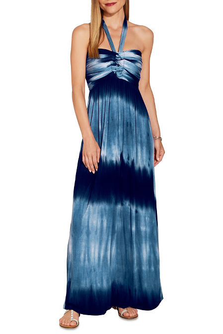 Knotted tie dye halter maxi dress image