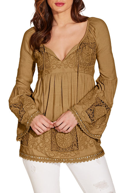 Lace studded tunic top image