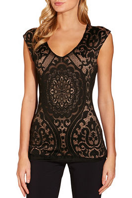 Mesh lace inset cap sleeve top