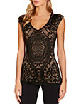 Mesh Lace Inset Cap Sleeve Top Photo