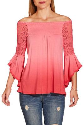 Ombré off the shoulder flare sleeve top