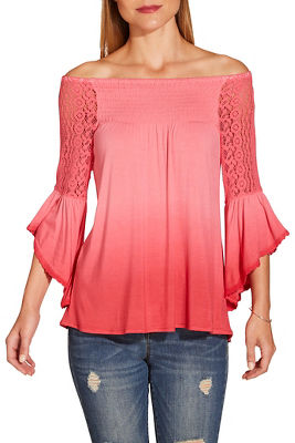 ombré off the shoulder flare sleeve top