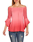 Ombré Off The Shoulder Flare Sleeve Top Photo