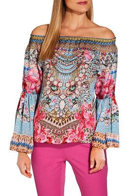 Orchid embellished off the shoulder blouse
