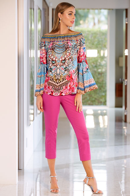 Orchid embellished off the shoulder blouse image