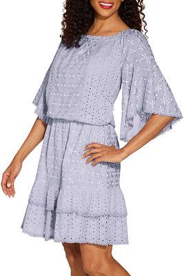 Off the shoulder eyelet smocked dress