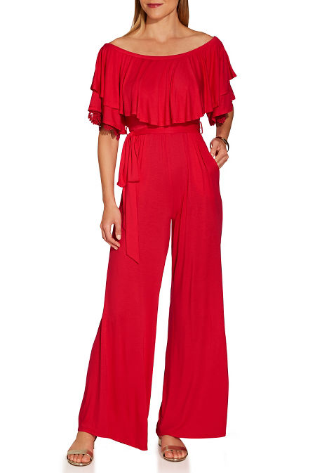 Off the shoulder tie waist jumpsuit image