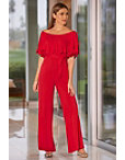 Off The Shoulder Tie Waist Jumpsuit Photo