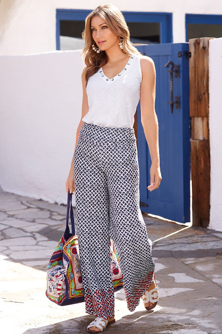 Printed embroidered sport pant image