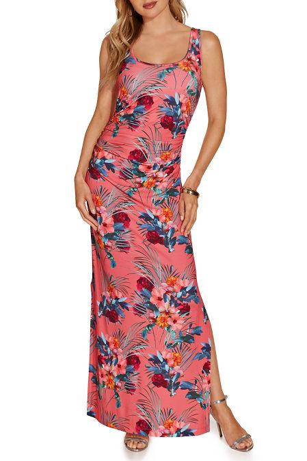 Ruched tropical print maxi dress image