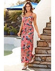 Ruched Tropical Print Maxi Dress Photo