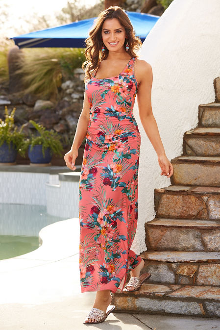 Ruched tropical print maxi dress image