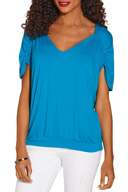 Ruched sleeve v neck top image